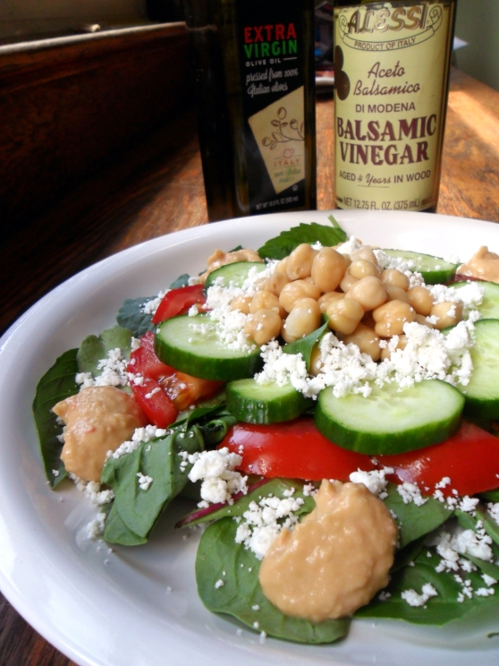 Goat Cheese, Chick Pea,  Basil and Mixed Baby Greens Salad