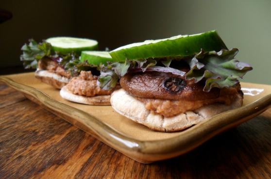 Mini Shiitake Mushroom and Black Bean Chipotle Hummus Sliders