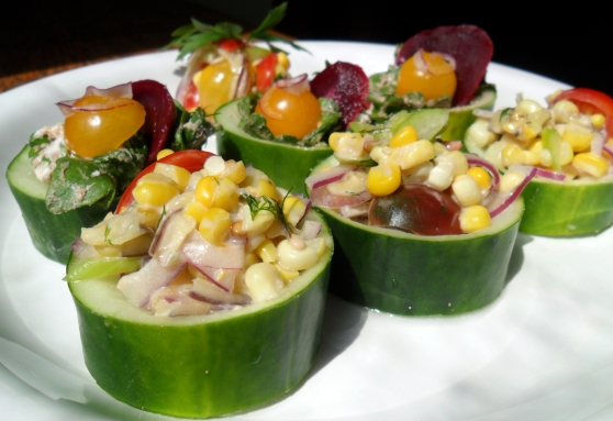 Cucumber Cups- Vegan with Roasted Corn Salad and Vegetarian with Goat Cheese and Pickled Beets