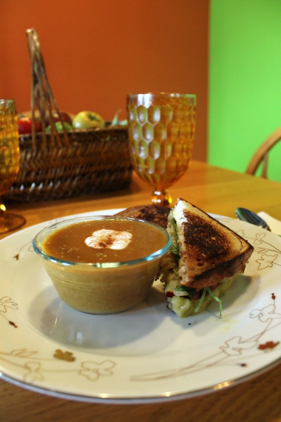 Curried Butternut Squash Soup paired with Apple, Caramelized Onion and Sage Grilled Cheese