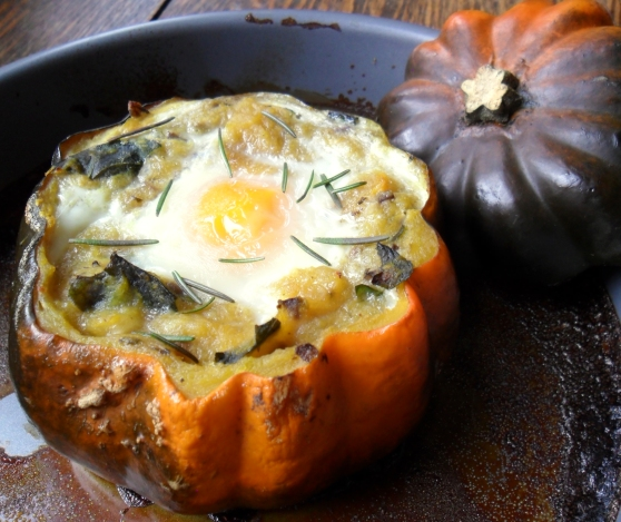 Acorn Squash Baked with Eggs in a Savory Basil Rosemary Mushroom Sauce