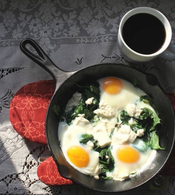 Skillet Baked Eggs with Spinach and Goat Cheese