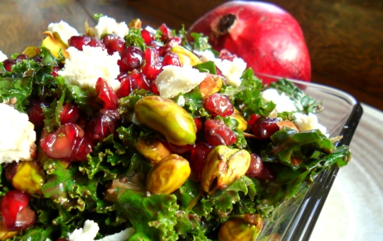 Pomegrantate and Pistachio Kale Salad with a Honey Goat Cheese Fig Balsamic Dressing